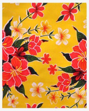 Toile cirée mexicaine hibiscus jaune
