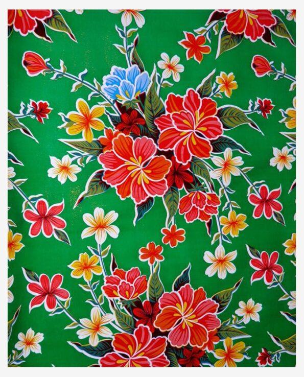 Toile cirée mexicaine hibiscus vert