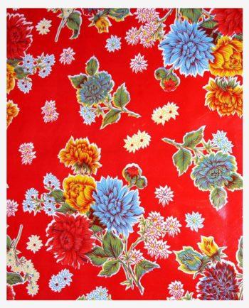 Toile cirée mexicaine chrysanthème rouge