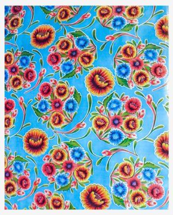 Toile cirée mexicaine dulce flor floral bleu ciel