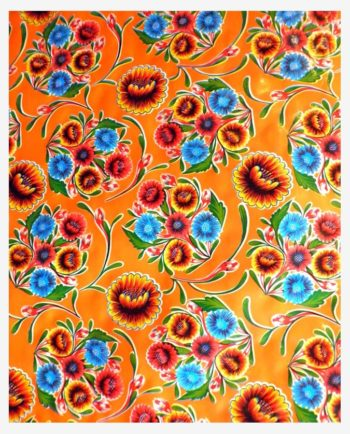 Toile cirée mexicaine dulce flor floral orange