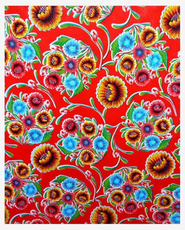 Toile cirée mexicaine dulce flor floral rouge