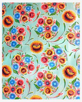 Toile cirée mexicaine dulce flor floral bleu turquoise