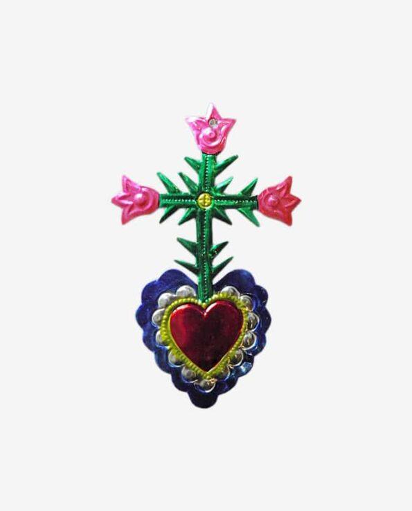 ex voto mexicain coeur et croix