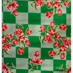 Toile cirée mexicaine tulipes verte