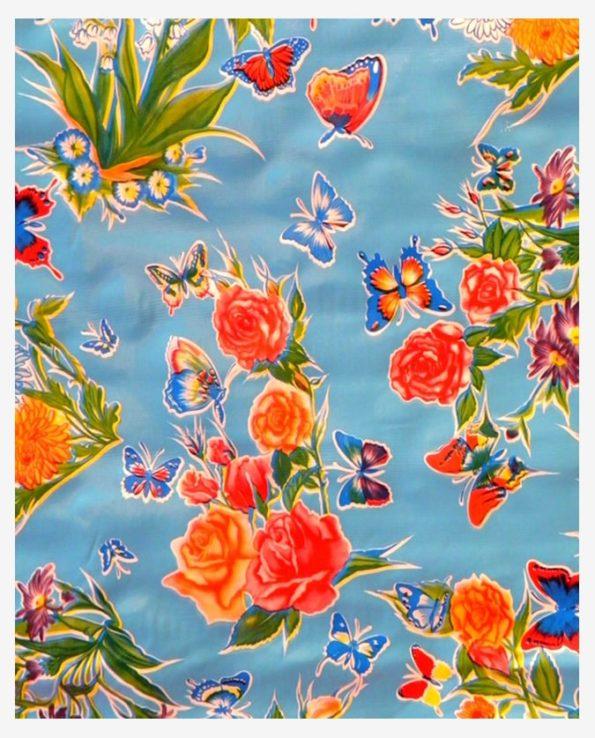 Toile cirée mexicaine mariposas bleu ciel