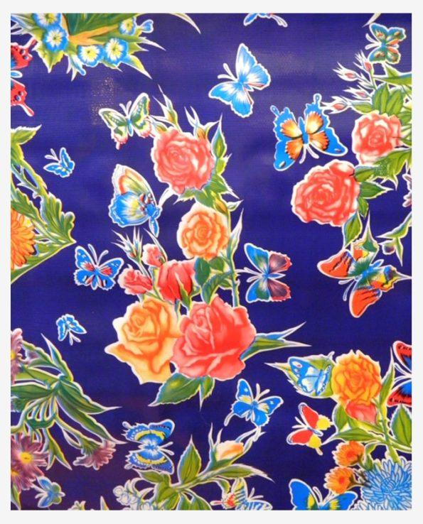 Toile cirée mexicaine mariposas bleu indigo