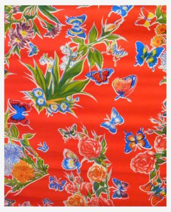 Toile cirée mexicaine mariposas rouge