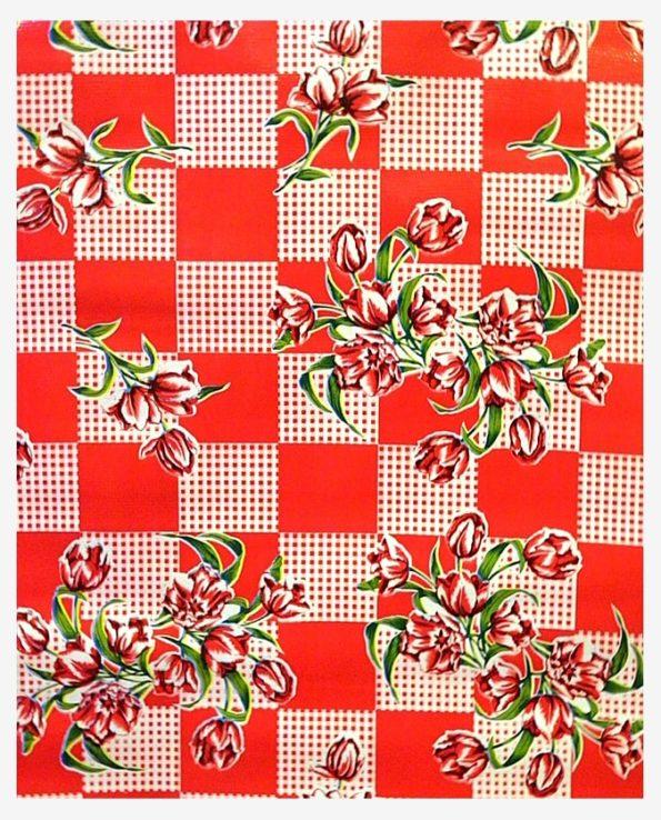 Toile cirée mexicaine tulipes rouge