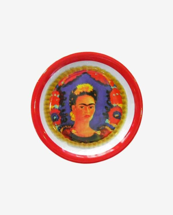 Assiette mélamine Frida Kahlo bord rouge