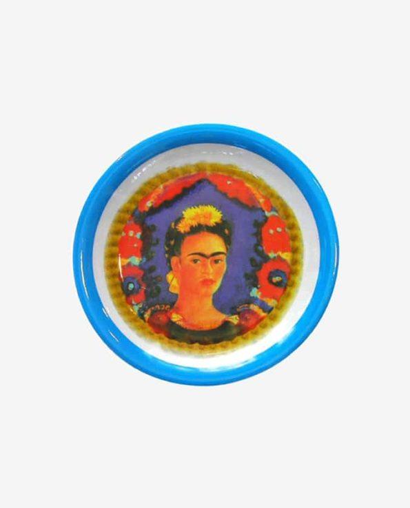 Assiette mélamine Frida Kahlo bord bleu