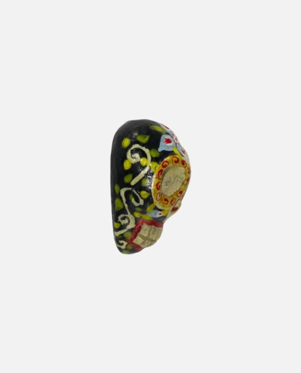pendentif terre cuite artisanal forme calavera couleur noir - profil