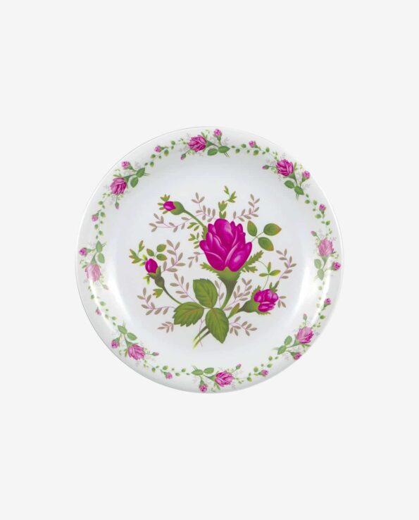 Assiette boutons de roses plate - Service de table mélamine