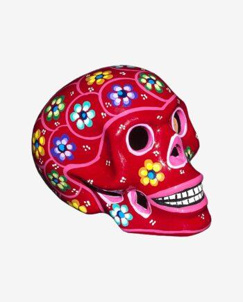 Crâne mexicain à fleurs rouge