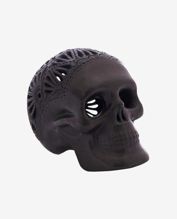 Crâne mexicain argile noir