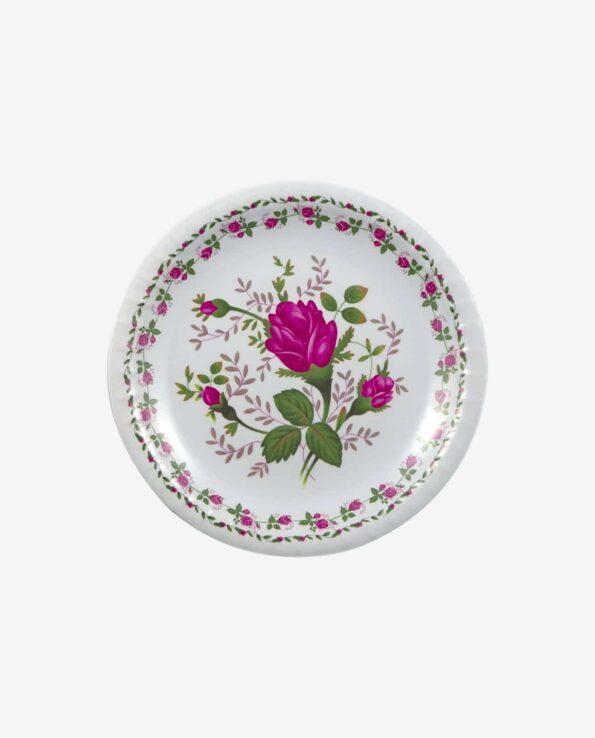 Assiette boutons de roses plate double couronne - Service de table mélamine