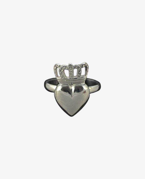 Bijou argent bague coeur couronne, bijou argent 925 création artisanale Esquipulas.