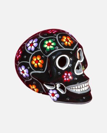 Crâne mexicain à fleurs noir