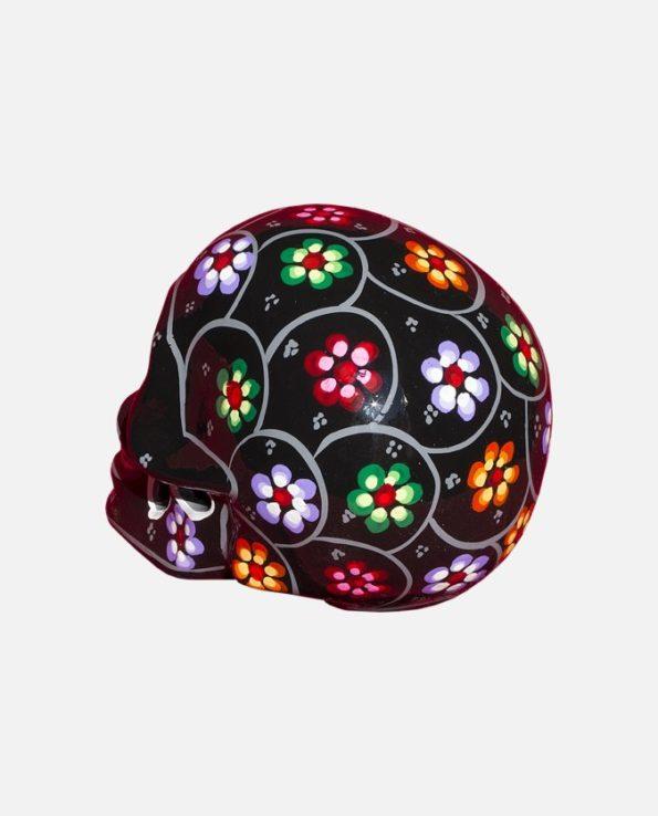 Crâne mexicain à fleurs couleur noire - Vue de dos