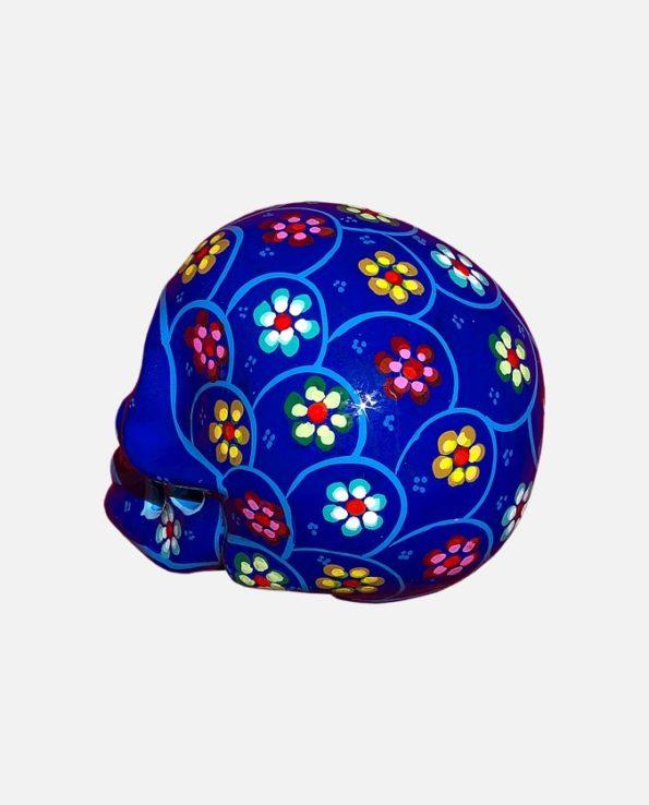Crâne mexicain à fleurs couleur bleue - Vue de dos