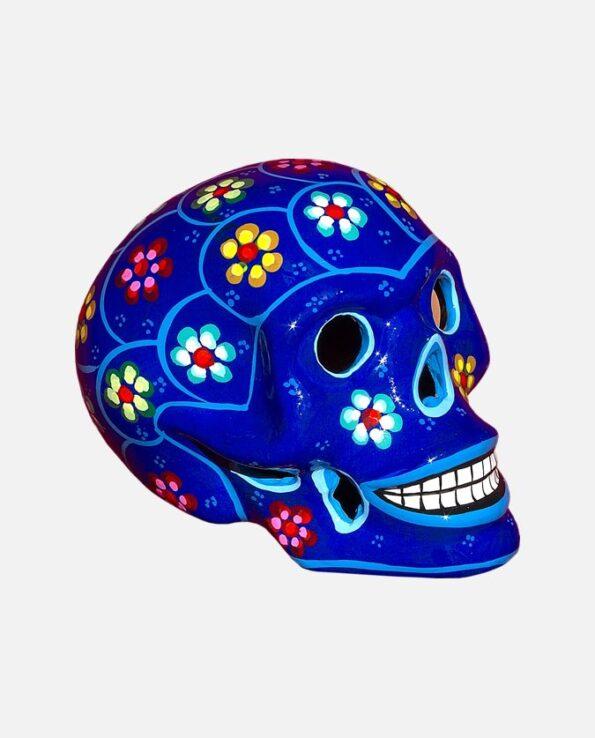 Crâne mexicain à fleurs bleu