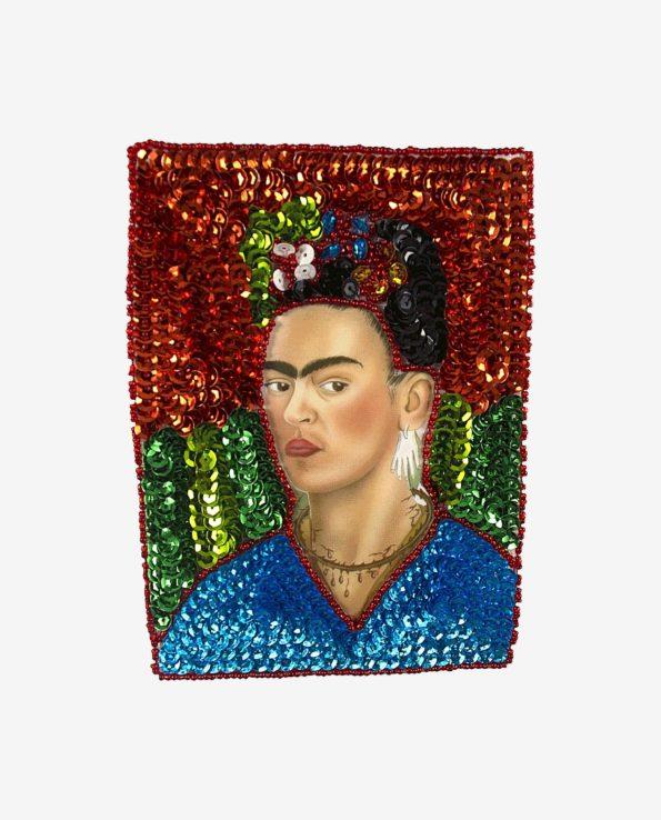 """Ecusson à coudre Frida Kahlo """"collier d'épines"""", fond orange"""