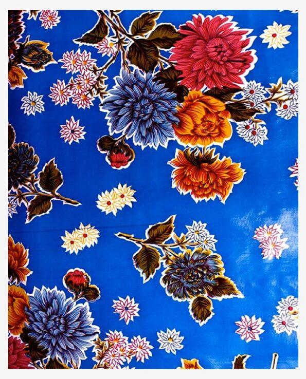 Toile cirée mexicaine chrysanthème bleu