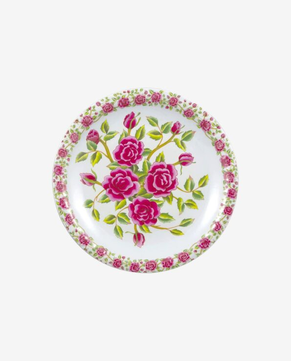 Assiette fleurs roses plate - Service de table mélamine