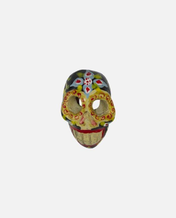 pendentif terre cuite artisanal forme calavera couleur noir face