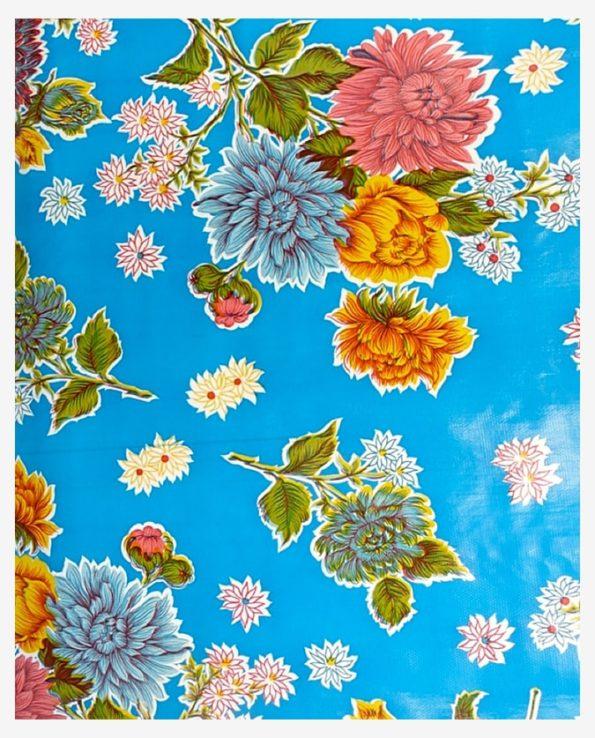 Toile cirée mexicaine chrysanthème bleu ciel
