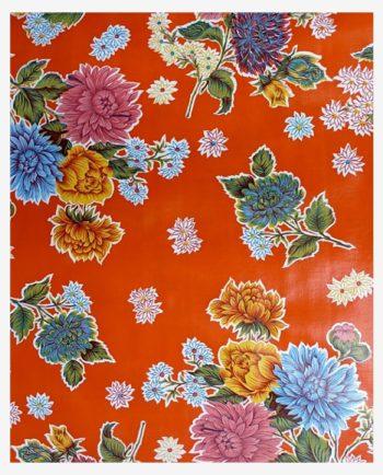 Toile cirée mexicaine chrysanthème orange