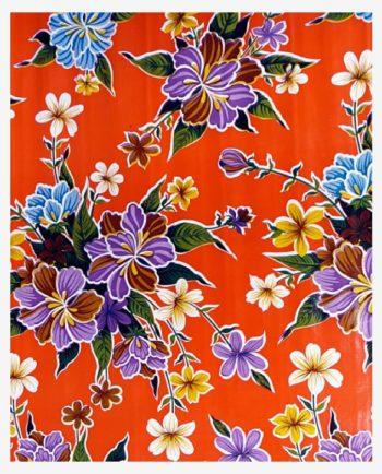 Toile cirée mexicaine hibiscus orange