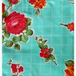 Toile cirée mexicaine rosedal vert turquoise