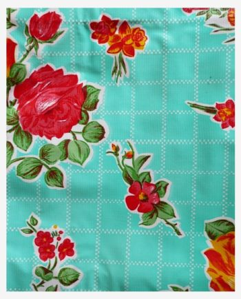 Toile cirée mexicaine rosedal vert turquoise