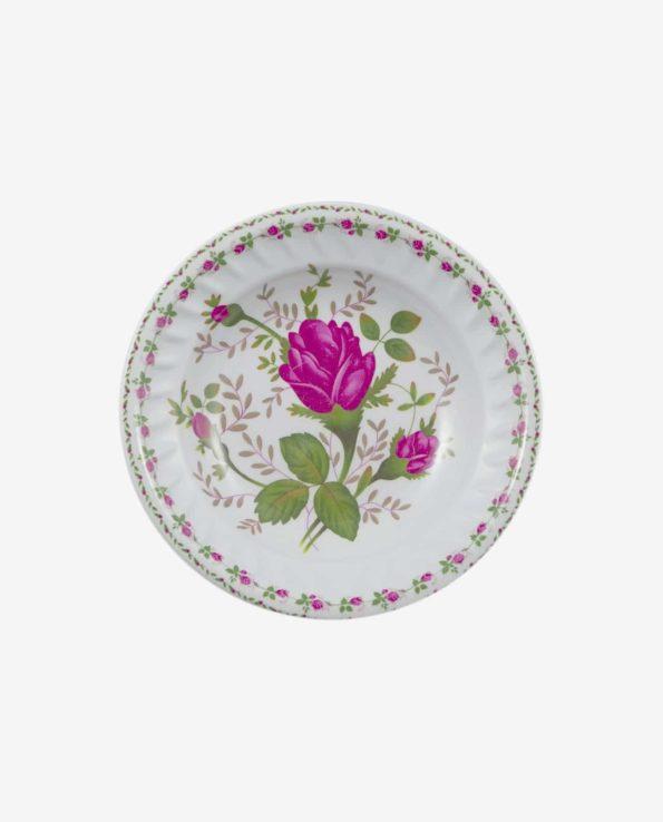 Assiette mélamine creuse 2 couronnes de roses - Service table mélamine