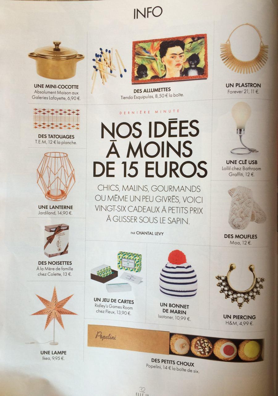 Shopping à moins de 15 euros - Elle 24/12/2015