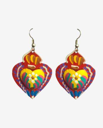 Boucles d'oreille coeur artisanales origine Mexico
