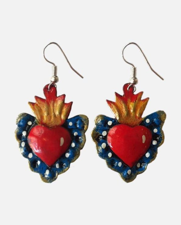 boucle d'oreille fantaisie artisanales mexicaines coeur