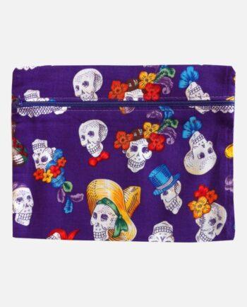 pochette tissu fête des morts - porte-monnaie calaveras