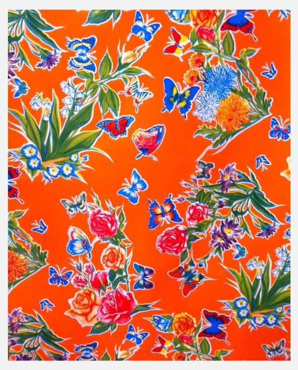 Toile cirée mexicaine mariposas orange