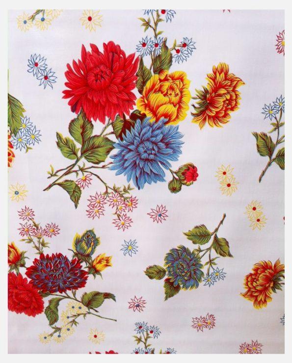 Toile cirée mexicaine chrysanthème blanc