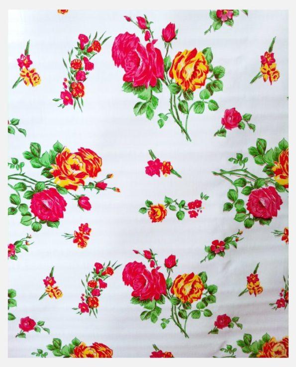 Toile cirée mexicaine rosedal blanc