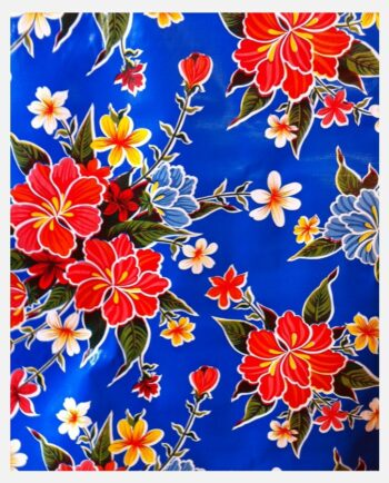 Toile cirée mexicaine hibiscus bleu