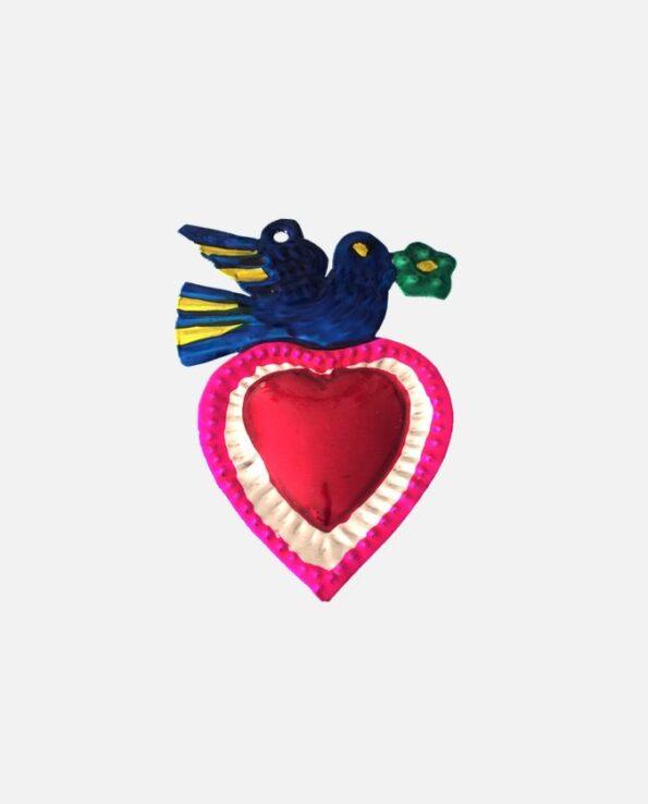 coeur ex-voto colombe au rameau - modèle 1