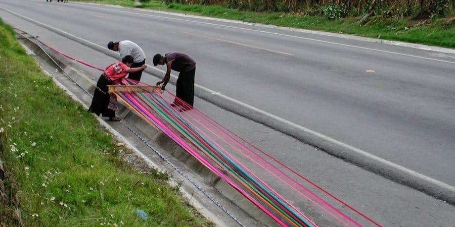 Tissu Guatemala - Fabrication du fil à tisser