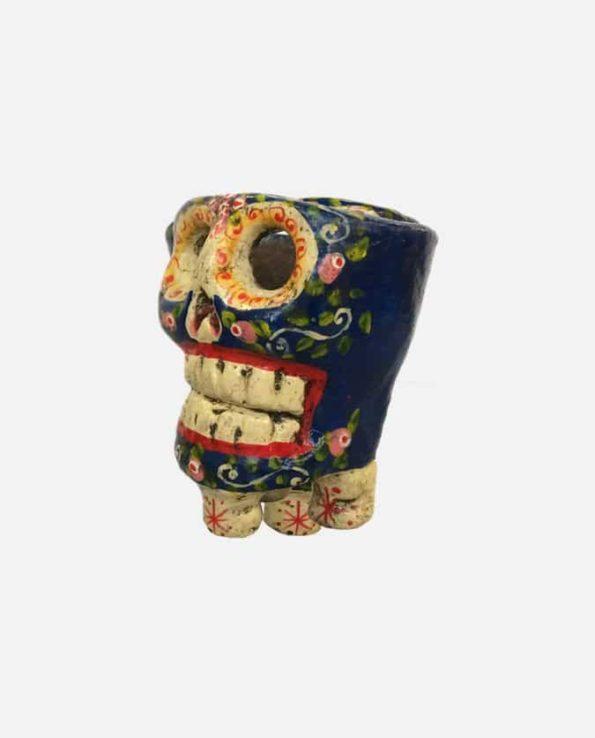 Bougeoir crâne bleu - bougeoir artisanal - profil