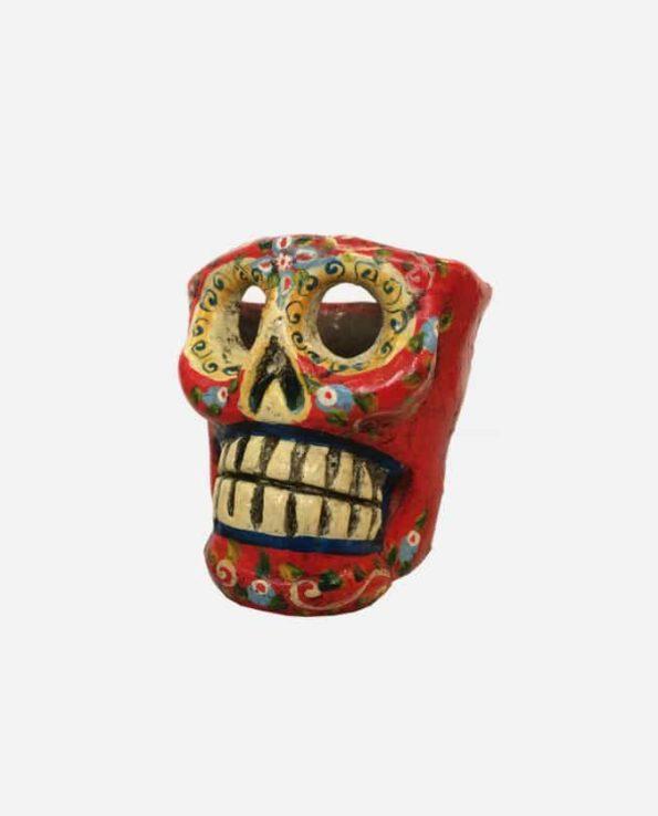 Bougeoir crâne rouge - profil