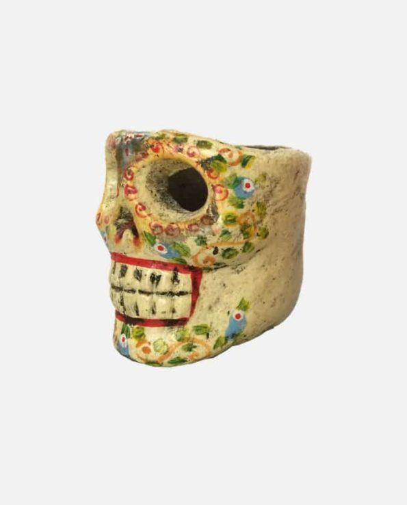 Bougeoir crâne jaune - profil