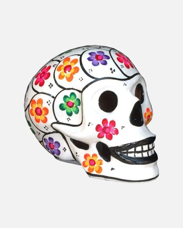 Crâne mexicain à fleurs blanc