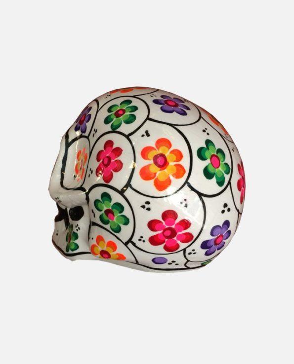 Crâne mexicain à fleurs blanc - dos